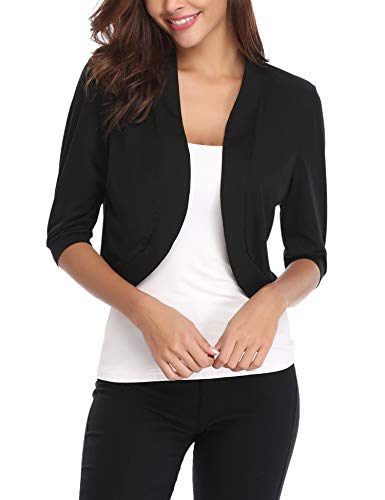 iClosam Women Open Front Cardigan 3/4 Sleeve Cropped Bolero Shrug Cardigan Sweater (Black, X-Large)