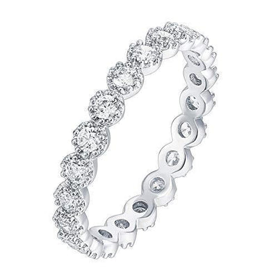 PAVOI 14K White Gold Plated Rings Cubic Zirconia Band | Marquise Milgrain Eternity Bands | White Gold Rings for Women Size 6