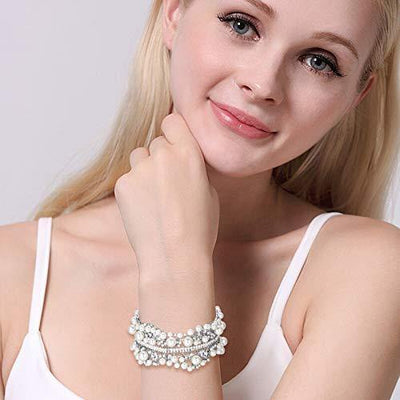 EVER FAITH Austrian Crystal Simulated Pearl Bridal Flower Stretch Bracelet Clear Silver-Tone