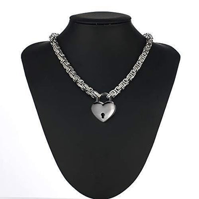 Locking Collar Choker Stainless Steel Byzantine Chain Necklaces Heart Padlock Gothic Collar with Elegant Box