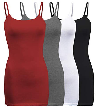 ShezPretty 4 Pack - Women's Basic Cami with Adjustable Spaghetti Straps Tank Top (XX-Large, Dark Burgundy/White/Black/Charcoal Grey)