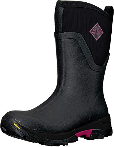 Muck Boot Women's Arctic Ice Mid Rubber Black/Pink Boots, 8 US