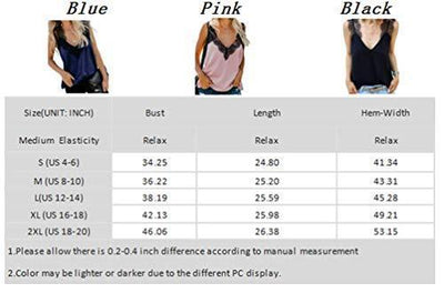 BLENCOT Women's Summer Sleeveless Shirts V Neck Lace Strappy Trim Camisole Tank Tops Loose Blouse Black M - PRTYA