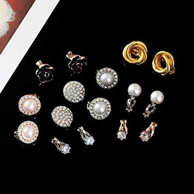 Wremily 8 Pairs Clip Earrings Set for Women Rose Flower CZ Simulated Pearl Gold Knot Clip Earrings with Rubber Pads Non Pierced Hypoallergenic Clip on Earrings Jewelry