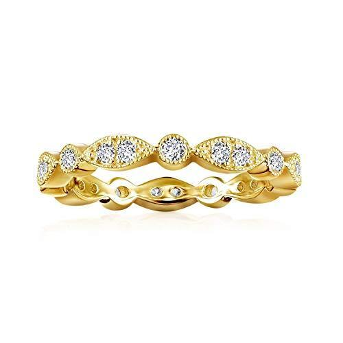 PAVOI 14K Yellow Gold Plated Rings Cubic Zirconia Band | Round Milgrain Eternity Bands | Yellow Gold Rings for Women Size 5