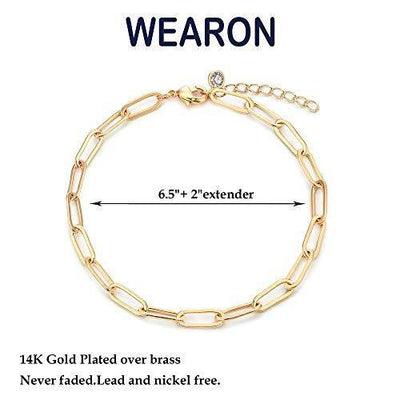WEARON Dainty Gold Link Chain Bracelet for Women 14K Gold Plated Simple Delicate Cable Link Chain Handmade Minimalist Jewelry