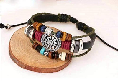 OYEFLY Vintage Bohemia Beaded Bracelet, Multilayer Hand Woven Wristbands, Hemp Cords Wrap Bracelet Jewelry for Men and Women (Black)