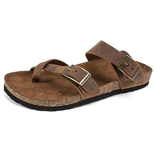 WHITE MOUNTAIN Women's Gracie Flat Sandal, Brown, 8 M US - PRTYA