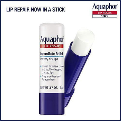 Aquaphor Lip Repair Stick - Soothes Dry Chapped Lips - Two(2) .17 Oz. Sticks