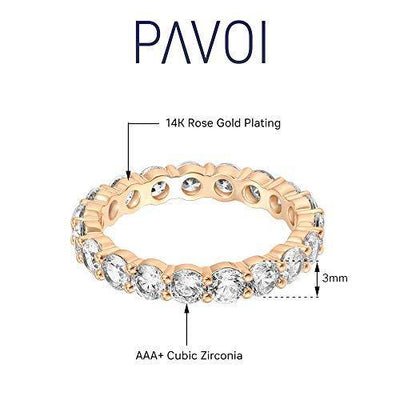 PAVOI 14K Rose Gold Plated Cubic Zirconia Rings | 3.0mm Eternity Bands | Rose Gold Rings for Women Size 6