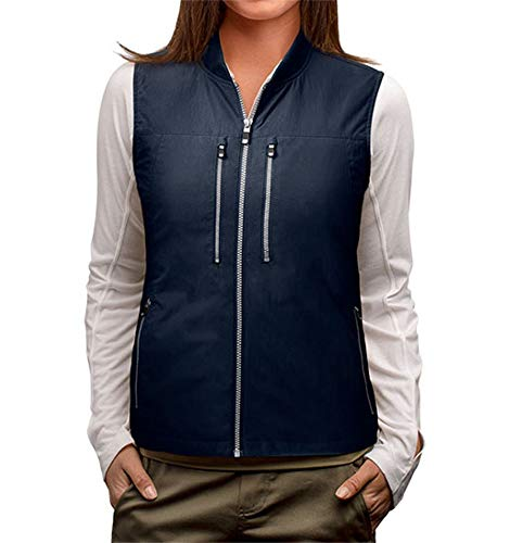 SCOTTeVEST 101 Travel Vest for Women with Pockets - Lightweight Utility Vest NVY L