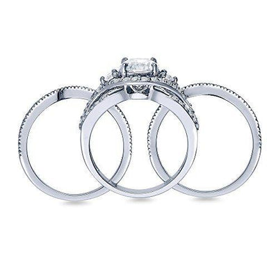 BERRICLE Rhodium Plated Sterling Silver Round Cubic Zirconia CZ 3-Stone Anniversary Engagement Wedding Ring Set 2.36 CTW Size 4.5