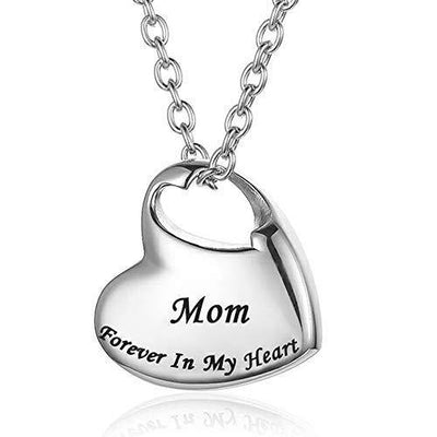 Cremation Urn Necklace for Ashes Urn Jewelry,Forever in My Heart Carved Locket Stainless Steel Keepsake Waterproof Memorial Pendant for mom & dad with Filling Kit (Mom)