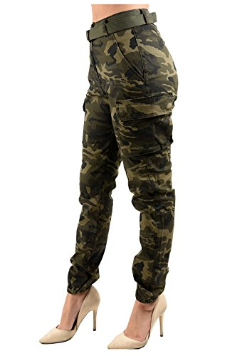 TwiinSisters Women's High Rise Slim Fit Color Jogger Pants with Matching Belt - Size Small to 3X (Large, Camo Cargo Olive #Rjj2036)