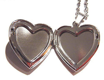 Glitter Heart Locket Mood Pendant on Silvertone Chain Necklace Color-Changing thermochromic
