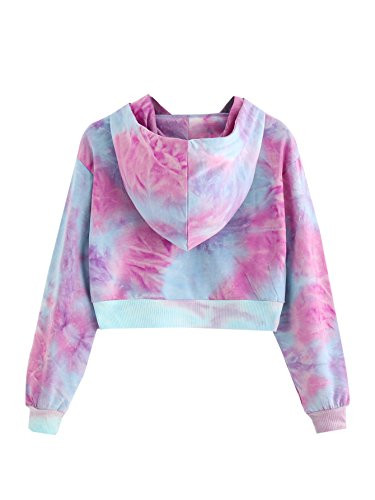 MakeMeChic Women's Long Sleeves Tie Dye Ombre Sweatshirt Crop Top Hoodies Light Blue M