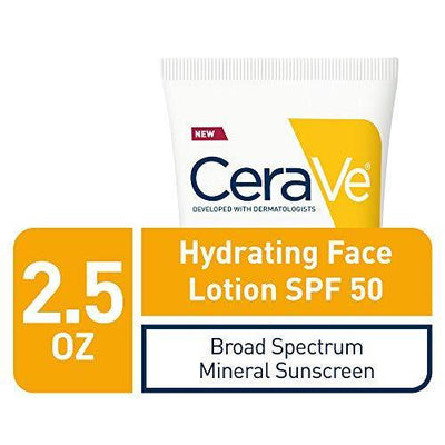 Cerave 100% Mineral Sunscreen SPF 50 | Face Sunscreen with Zinc Oxide & Titanium Dioxide for Sensitive Skin | 2.5 oz, 1 Pack