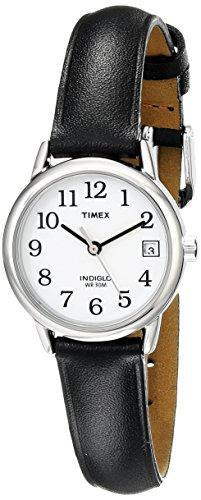 Timex Women's T2H331  Indiglo Leather Strap Watch, Black/Silver-Tone/White