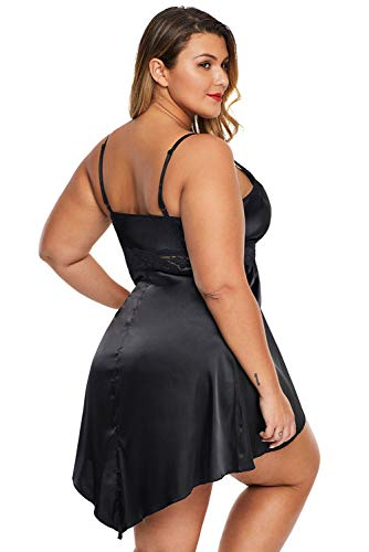 lime flare Women Sexy Lace Silky Plus Size Chemise Babydoll Satin Lingerie Dress Sleepwear Set (3X-Large(US 22-24),Solid Black with Front Slit)
