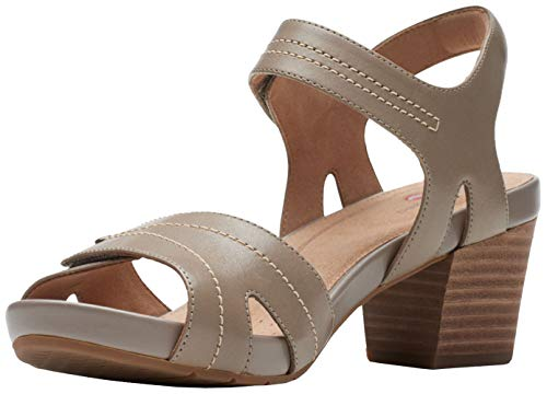 Clarks Women's Un Palma Vibe Heeled Sandal, Taupe Leather, 7