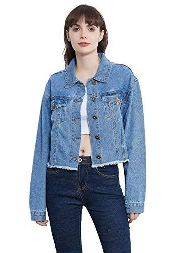 Anna-Kaci Women Jean Jacket Button Down Distressed Oversized Denim Jackets Coat, Light Blue, Small - PRTYA
