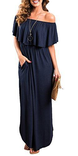 Womens Off The Shoulder Ruffle Party Dresses Side Split Beach Maxi Dress Navy XL