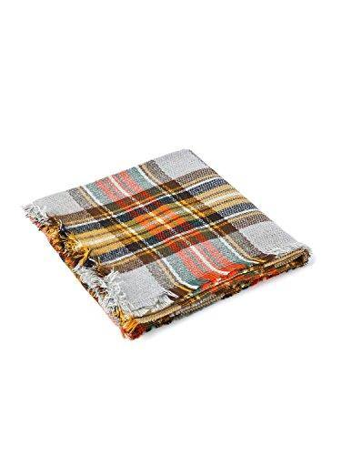 Women's Winter Soft Plaid Tartan Checked Scarf Large Blanket Wrap Shawl Orange 140 by 140cm
