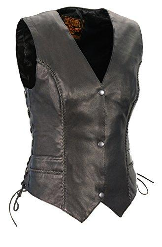 Milwaukee Leather MLL4560 Ladies Black Braided Leather Vest with Side Laces - Medium