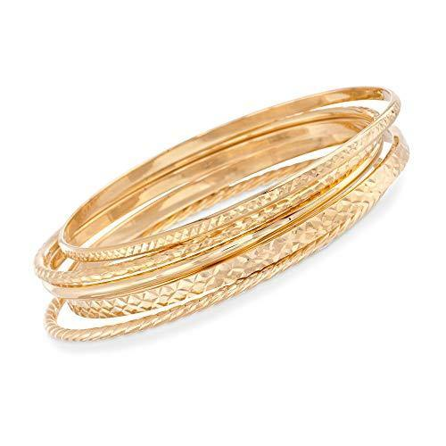 Ross-Simons 18kt Gold Over Sterling Jewelry Set: 5 Textured Bangle Bracelets
