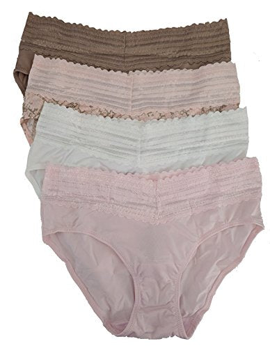 Warner's Womens No Pinches No Problems Hipster Panty 4-Pack, X-Large, Beige/Animal Swirl Print/White/Pink
