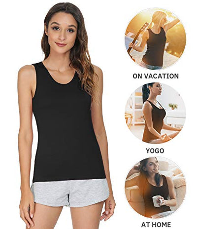 Vislivin Womens Supersoft Camisole Stretch Casual Tank Tops Black/Gray/Dark Blue XXL