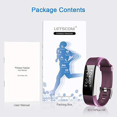 LETSCOM Fitness Tracker HR, Activity Tracker Watch with Heart Rate Monitor, Waterproof