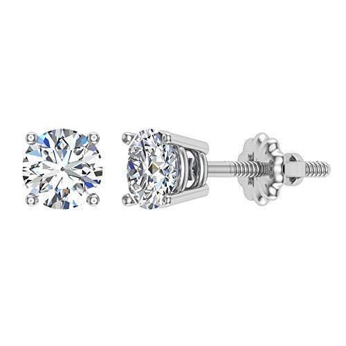 Diamond Earrings for women-men-girls Round Cut 14K White Gold studs 0.60 ct t.w. Gift box Authenticity Cards (G, VS1)