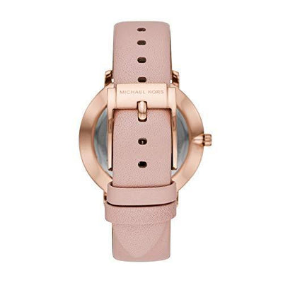Michael Kors Women's Stainless Steel Quartz Watch with Leather Calfskin Strap, Pink, 18