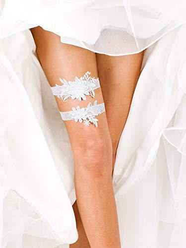 2 Pieces Wedding Garters Daisy Lace Bridal Garter Hand Sewn Faux Pearls Garter for Bride (White)