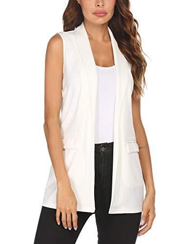 HOTLOOX Women's Sleeveless Blazers Office Vest Jacket Cardigan Blazer with Pockets (White, Medium)