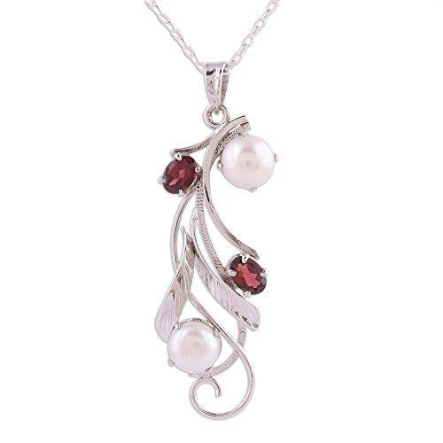 "NOVICA Garnet Cream Cultured Freshwater Pearl .925 Rhodium Plated Silver Necklace, 18"" 'Eternal Glamour'"