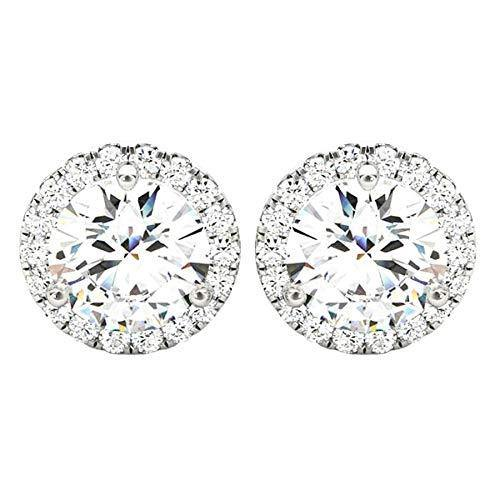 1.5 Carat (ctw) Round Halo Diamond Earrings Value Collection 14K Yellow Gold - 1.50