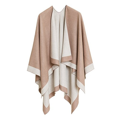 Women's Shawl Wrap Poncho Ruana Cape Cardigan Sweater Open Front for Spring Fall (PC01-15)