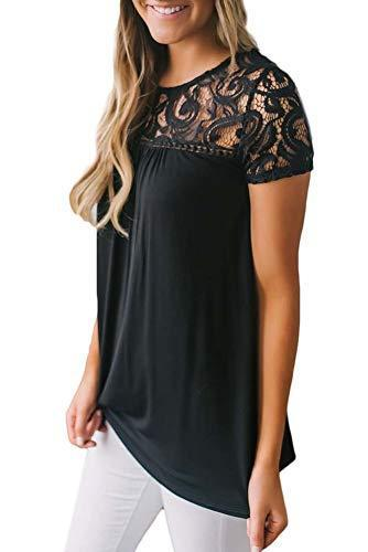 Spadehill Womens Short Sleeve Summer Floral Lace T Shirt Casual Plain Elegant Blouse Black