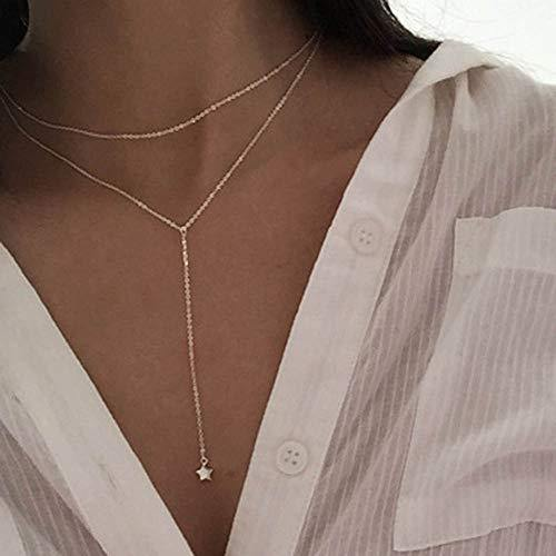 Jovono Multilayered Choker Necklaces Star Pendant Necklace Chain Jewelry for Women and Girls (Gold)