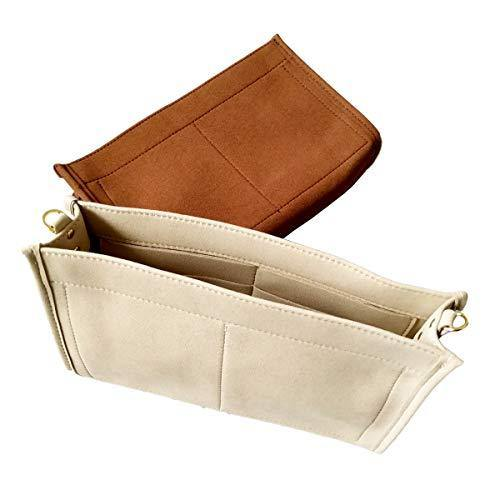 Tourdream Purse Organizer Insert Fit Toiletry Pouch 26 19 Handbag Shaper Premium Microfiber with Gold Buckles (Toiletry Pouch 26, Light Khaki)