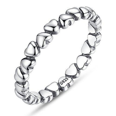 BAMOER 925 Sterling Silver Endless Love Heart Stacking Ring for Women Teen Girls Birthday Size 6-9 (9)