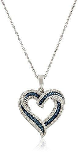 Sterling Silver Blue and White Diamond Heart Pendant Necklace (1/2 cttw), 18""