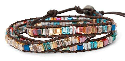 3 Wrap Dazzling Multi Color Crystal Leather Bracelet | SPUNKYsoul Collection