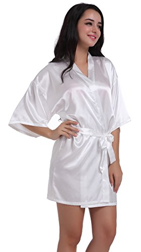 Women's Satin Kimono Robe for Bridesmaid and Bride Wedding Party Getting Ready Short Robe with Gold Glitter