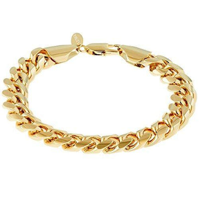 Lifetime Jewelry 11mm Cuban Link Chain Bracelet for Men & Women 24k Gold Plated, 10 Inches