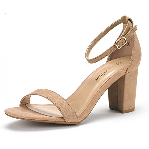 DREAM PAIRS Women's Chunk Nude Suede Low Heel Pump Sandals - 6 M US