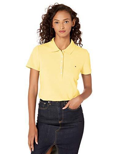 Tommy Hilfiger Women's Short Sleeve Polo (Standard and Plus Size), Sunshine, X-Large
