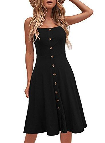 Berydress Women's Chic Black Summer Dresses Spaghetti Strap Flared - PRTYA